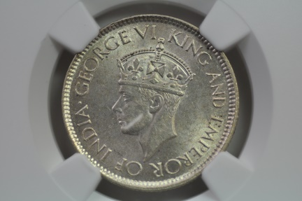 World Coins - Ceylon; Silver 50 Cents  1942  NGC MS62