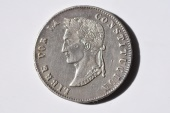 World Coins - Bolivia; Silver 8 Soles 1854 PTS M  XF  Scarce Date.