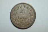 World Coins - Austria; 4 Kreutzer  1860 A  XF