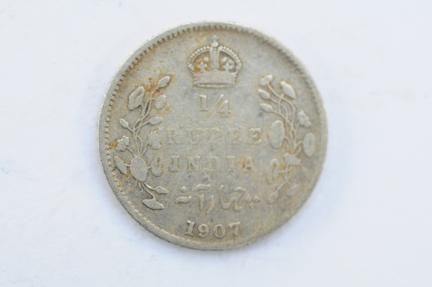 World Coins - India British 1/4 Rupee 1907 (c)  F