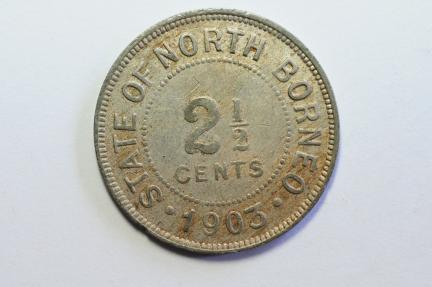 World Coins - British North Borneo 2 1/2 Cents 1903 H  VF