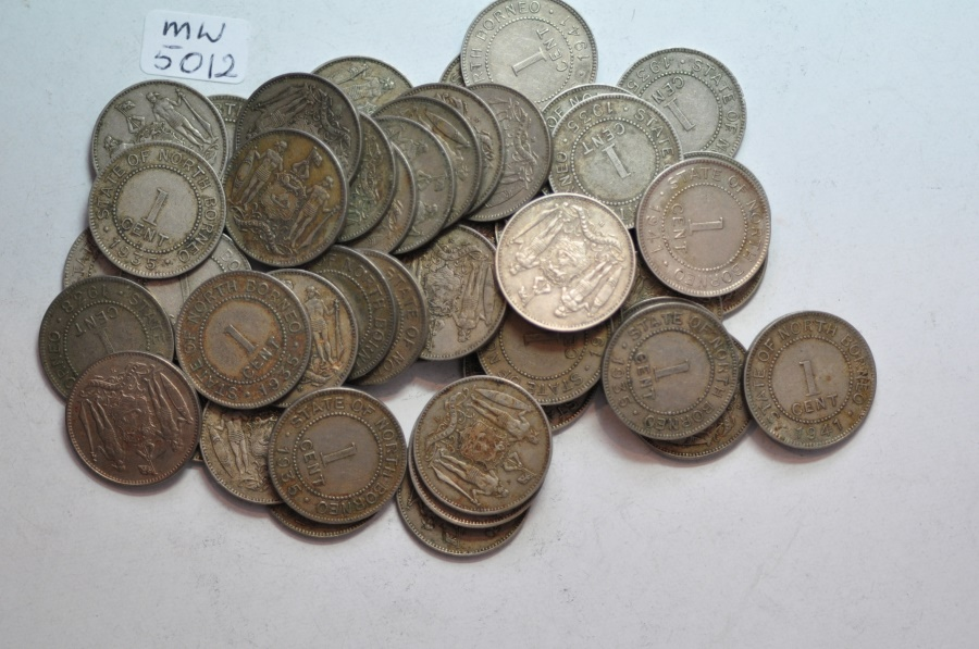 World Coins - British North Borneo; Cent  1935; 1938; 1941  - Lot of 50 circulated coins