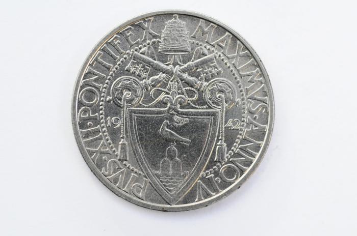 World Coins - Vatican 2 Lire 1942 - Anno IV   UNC