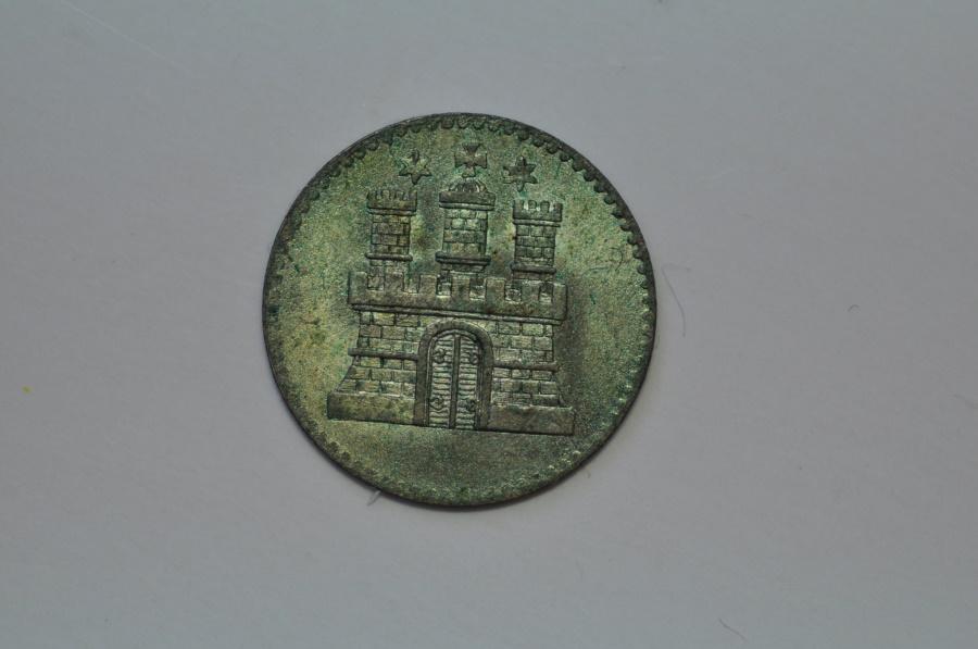 World Coins - Germany Hamburg; Silver Dreiling (3 Pfennig)  1855   Unc