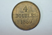 World Coins - Guernsey 4 Doubles 1889 H   AU