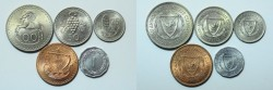 World Coins - Cyprus Set of 5 Coins 100, 50, 25, 5, 1 Mils 1963  UNC