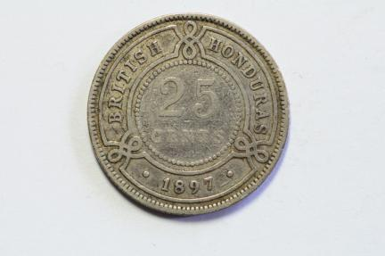 World Coins - British Honduras Silver 25 Cents 1897  F/VF