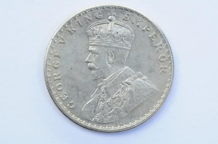 World Coins - India British Silver Rupee 1917  XF
