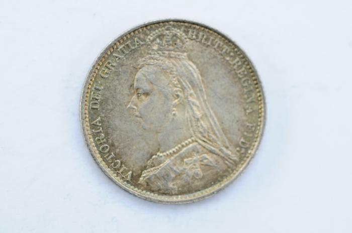 World Coins - Great Britain Silver 6 Pence 1887  UNC