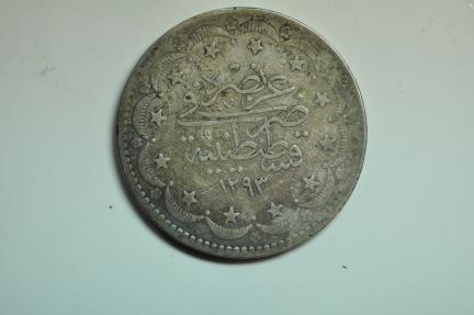 World Coins - Turkey; Silver Crown - 20 Kurush AH1293/2 - 1877 AD
