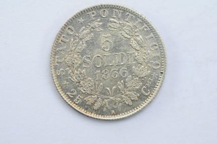 World Coins - Papal States Silver 5 Soldi 1866 R AU+