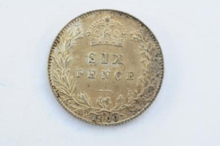World Coins - Great Britain Silver 6 Pence 1900  UNC