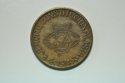 World Coins - Mexico, Constitutionalist Army - Pancho Villa; 5 Centavos 1914  XF