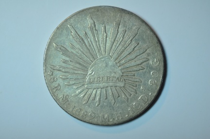 World Coins - Mexico; Silver 8 Reales 1889 Mo M.H.  XF
