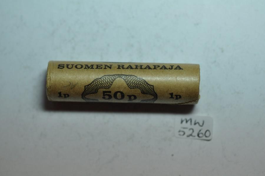 World Coins - Finland; 1 Penni 1968 Original Mint Roll - 50 Coins  BU