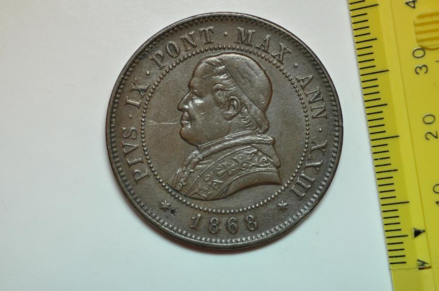 World Coins - Papal States; 4 Soldi - 20 Centesimi 1868-R Anno XXIII  XF