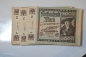 World Coins - Germany; 5,000 Mark April 1, 1923 Lot of 87 banknotes - consecutive numbers (2 missing)