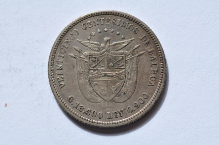 World Coins - Panama; Silver 25 Centesimos  1904   VF/XF