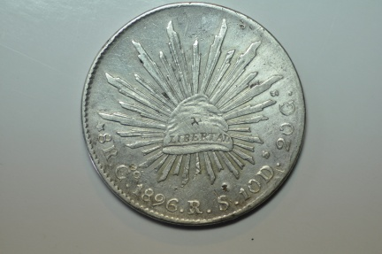 World Coins - Mexico; Silver 8 Reales 1896 Go RS   VF