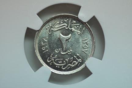 World Coins - Egypt; 2 Milliemes AH1357 - 1938  NGC MS61