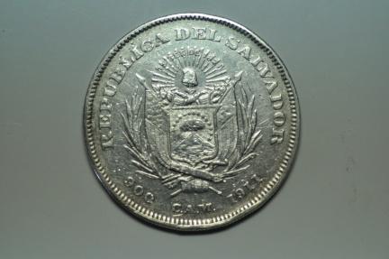 World Coins - El Salvador; Silver Crown, Peso (Colon)  1911 C.A.M.   XF-