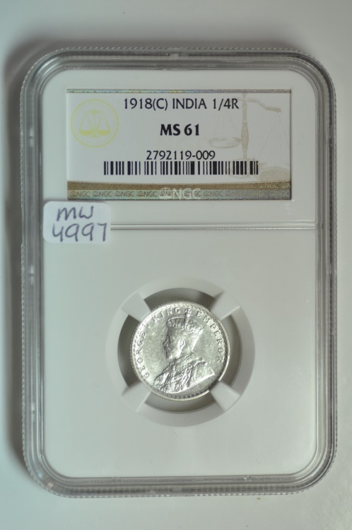 World Coins - India; Silver 1/4 Rupee 1918 (C)  NGC MS61