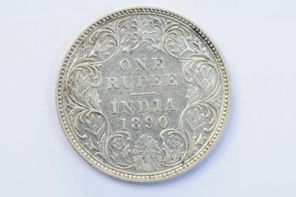 World Coins - India British Silver Rupee 1890  XF