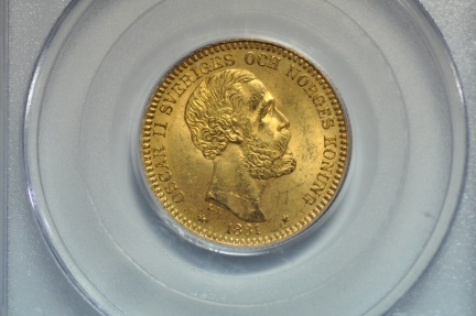 World Coins - Sweden; Gold 20 Kronor 1881-EB  PCGS MS64   Key Date!!! From Weiss Collection