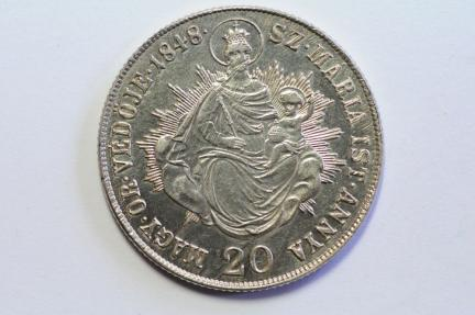 World Coins - Hungary Silver 20 Krajczar 1848  AU
