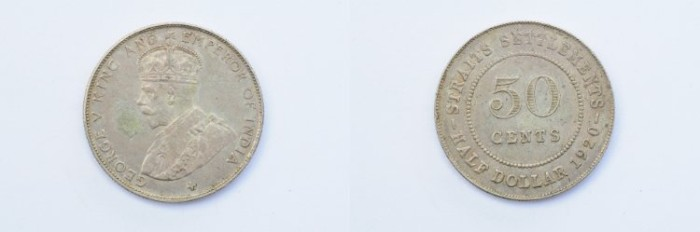 World Coins - Straits Settlements 50 Cents 1920  AU