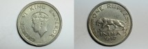 World Coins - India British Rupee 1947  XF-