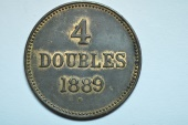 World Coins - Guernsey; 4 Doubles  1889H  XF/AU