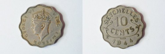 World Coins - Seychelles 10 Cents 1944