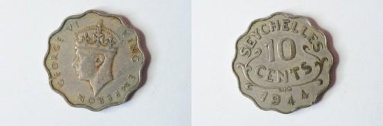 World Coins - Seychelles 10 Cents 1944