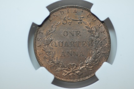World Coins - British India - East India Co; 1/4 Anna 1858 (W)  NGC MS63 RB