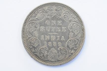 World Coins - India British Silver Rupee 1889 (b)  Choice AU