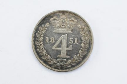 World Coins - Great Britain 4 Pence - Groat 1851  UNC - Proof Like