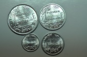 World Coins - French Polynesia; Set: 50 Centimes, 1; 2; 5 Francs 1965   Unc.