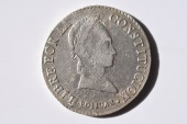"World Coins - Bolivia; Silver 8 Soles 1847 PTS R  XF  ""MULE""  Rare !"