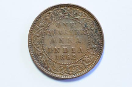 World Coins - India British 1/4 Anna 1862  VF