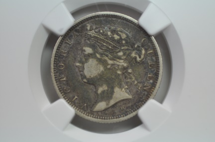 World Coins - Straits settlements; Silver 20 Cents 1880H  NGC VF Details - environmental damage