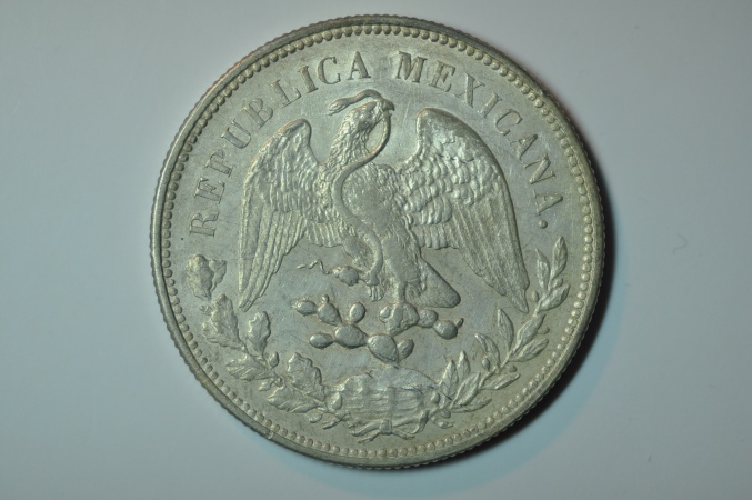 World Coins - Mexico; Silver Crown Peso 1908 Mo A.M.  AU