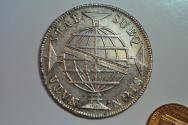 World Coins - Brazil; Silver Crown 960 Reis 1810 B (struck on 8 Reales 1808)  XF