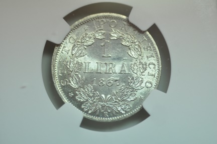 World Coins - Papal States; Silver Lira 1867 R  Anno XXII  NGC MS63