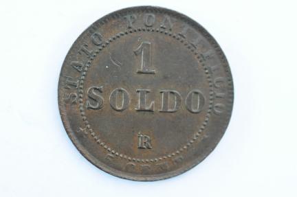 World Coins - Papal States Soldo 1867 R   AU/UNC