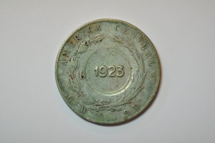 World Coins - Costa Rica; Silver Colon 1923 Counterstamped on 50 Centavos 1880