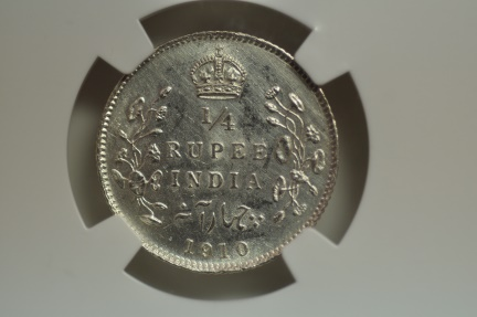 World Coins - India; Silver 1/4 Rupee 1910 (C)  NGC UNC Details - hairlines