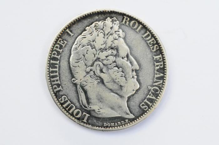 World Coins - France Silver 5 Francs 1844 BB VF+