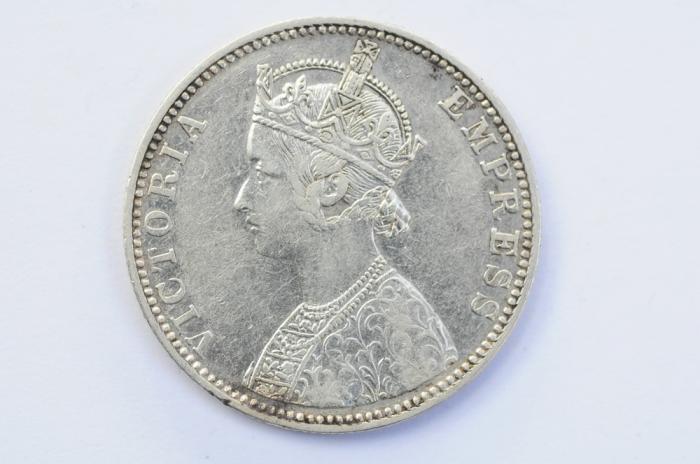 World Coins - India British Silver Rupee 1890  XF