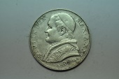 World Coins - Papal States; Silver 2 Lire 1866 R Anno XXI  XF